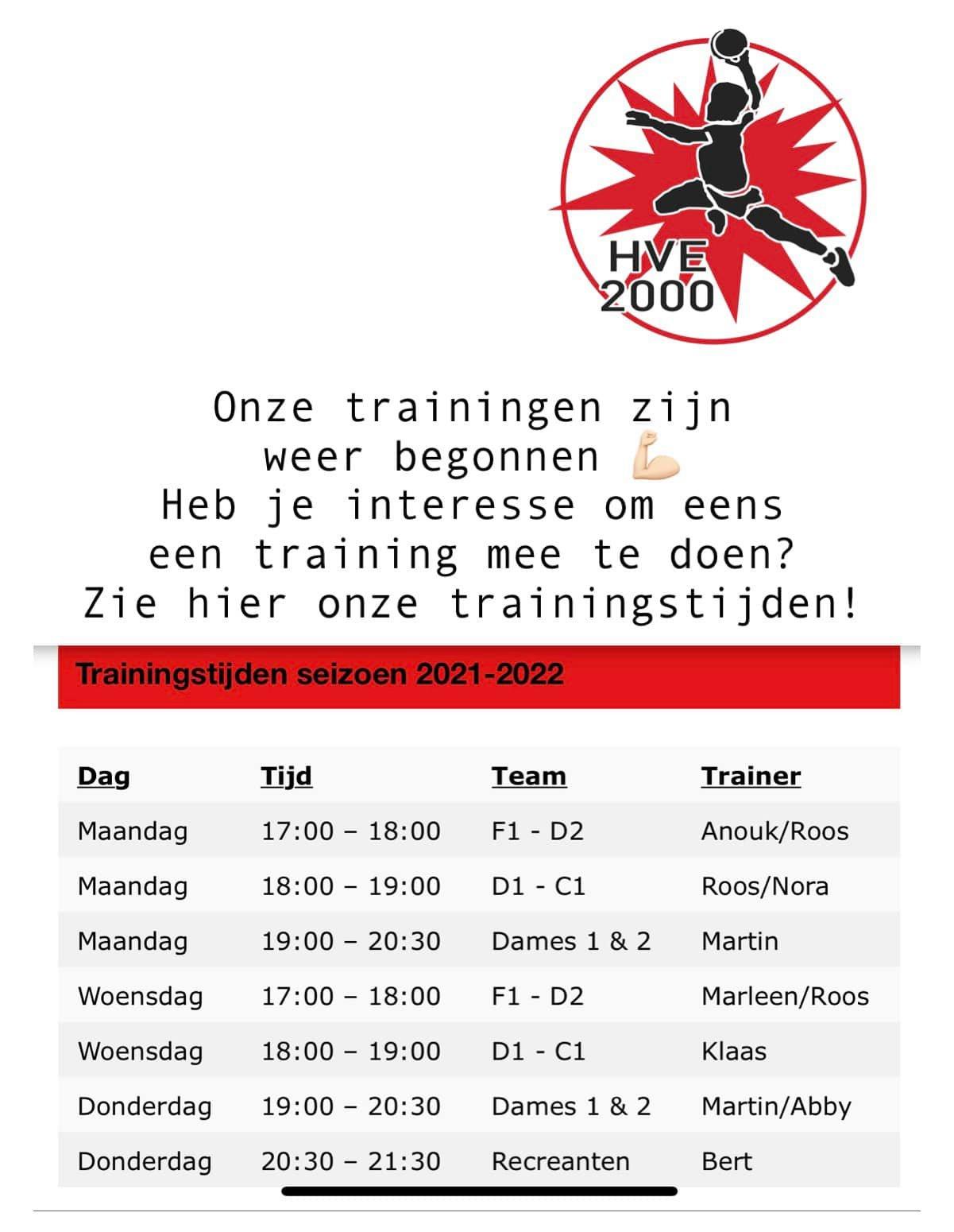 Onze trainingen zijn weer begonnen!